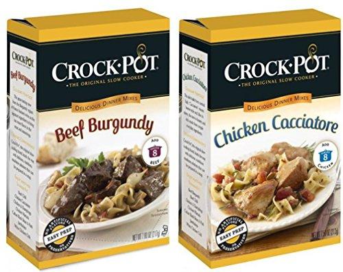 Crock-Pot Slow Cooker Delicious Dinner Mixes 2 Flavor Variety Bundle: (1) Crock-Pot Chicken Cacciatore Delicious Dinner Mix, and (1) Crock-Pot Beef Burgundy Delicious Dinner Mix, 7.5-7.6 Oz. Ea. (Crockpot Sauces compare prices)