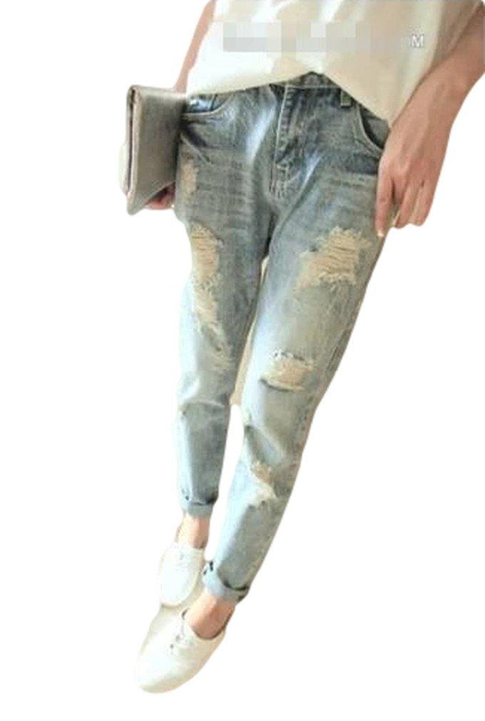 2015 春 ダメージ ウォッシュ 加工 デニム シンプル マニッシュ スタイル ロール アップジーンズ パンツ ライトブルー S M L XL