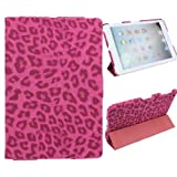 Generic Fashion Solid Leopard PU Leather Flip Case Cover with 3 Fold Stand for Apple iPad Mini Smart Tablet PC -Rose Pink