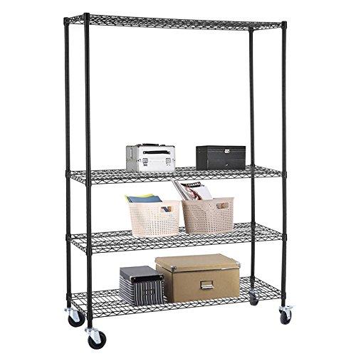 Space+ 4 Tier Layer Wire Shelving Rack Adjustable Steel Shelf Black 48