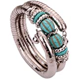 Yazilind Tibetan Silver Twisted 2 Layer Adjustable Rimous Green Turquoise Arm Bangle Bracelet
