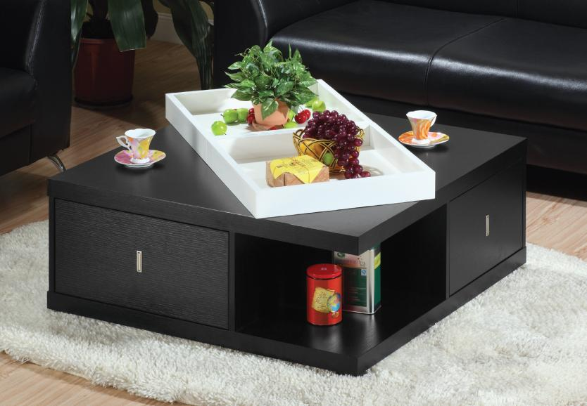 Furniture Of America Morgan Square Coffee Table With Serving Tray Black
