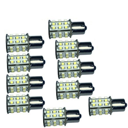 Hqrp 10-Pack Ba15S Bayonet Base 30 Leds Smd 3528 Led Bulb Warm White For #1141 #1156 Lance Travel Trailer Interior Light Replacement + Hqrp Uv Meter