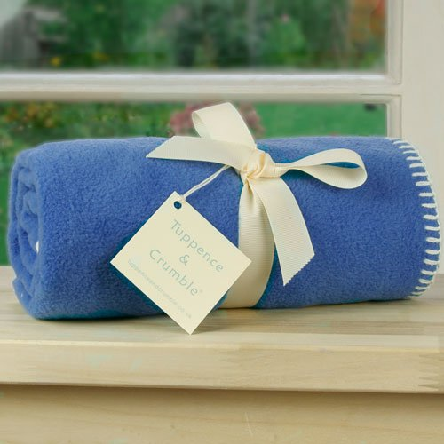 Tuppence and Crumble soft fleece baby blanket Cornflower