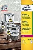 Avery Zweckform L4778-20 Wetterfeste Folien-Etiketten, 45,7 x 21,2 mm, wetterfest, 20 Blatt/960 Etiketten, weiß