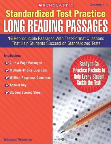 Standardized Test Practice: Long Reading Passages: Grades 5-6: 16 Reproducible Passages With Test-Format Questions That Help Students Succeed On Standardized Tests front-1003673