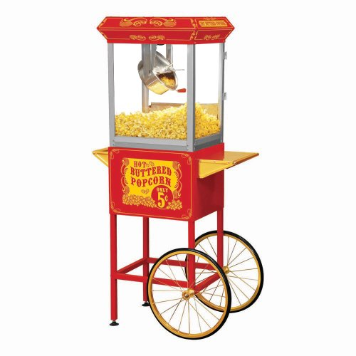 Funtime FT860CR Antique Carnival-Style 8-Ounce Hot-Oil Popcorn Popper with Cart, Red Antique Carnival Glass
