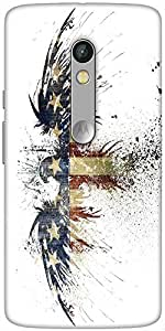 Snoogg Eagle With American Flag Designer Protective Back Case Cover For Motorola Moto X Play
