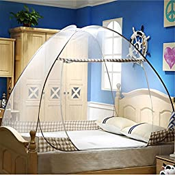 fantastic_008 Folding Mosquito Net Mesh Tent Canopy Curtains for Beds Home Bedroom Decor (1.82M, Coffee)