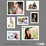 "7 Pc White Photo Frame Wall Collage, 2Pc 8"" X 10"", 2Pc 5"" X 7"", 3Pc 4"" X 6"""