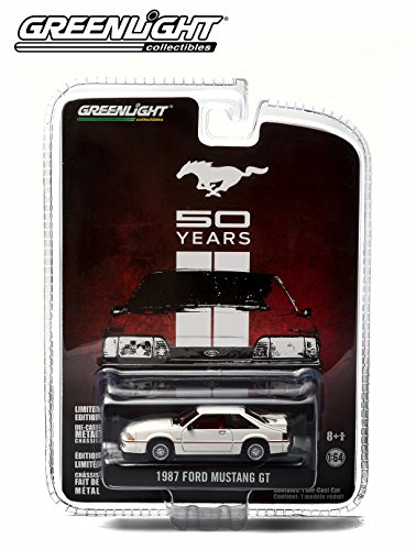 1987 FORD MUSTANG GT (White) * MUSTANG 50 YEARS * 2014 Greenlight Collectibles Anniversary Collection Series 1 Limited Edition 1:64 Scale Die-Cast Vehicle - 1