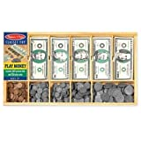 Melissa & Doug Play Money Set - Educational Toy With Paper Bills and Plastic Coins (50 of each denomination) and Wooden Cash Drawer for Storage (Color: Multi)