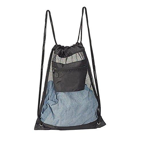 Mesh Drawstring Backpack - Black
