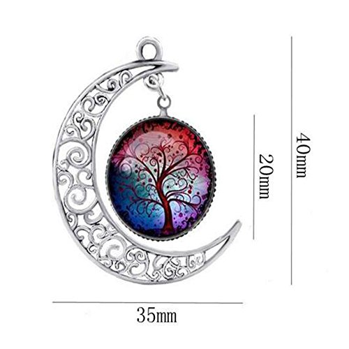 Luck Wang Women's Unique Lovers Hollow Carved Moon Tree Time Gemstone Necklace(1#) (Major Egyptian Gods)