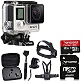 GoPro HERO4 SILVER Edition Camera HD Camcorder With Deluxe Carrying Case + Head Strap + Chest Strap + Monopod + 32GB SDHC MicroSD Memory Card Complete Deluxe Accessory Bundle