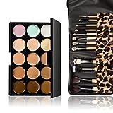 Vktech® 15 Colors Contour Face Cream Makeup Concealer Palette 12pcs Leopard Brush