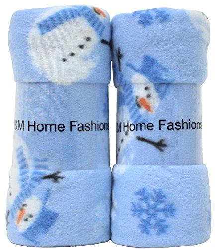 Print Snowmen and Snowflakes Fleece Throw, 50-Inch by 60-Inch, 2-Pack
