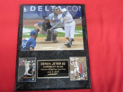 Derek Jeter New York Yankees 2 Card Collector Plaque #1 W/8X10 Rare 3000Th Hit Photo back-743345