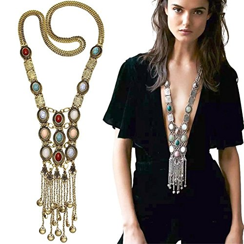 Miraculous Garden Womens Vintage Alloy Silver/Gold Long Ethnic Tribal Boho Beads Coin Fringe Necklace Bohemia Style (Antique Gold)