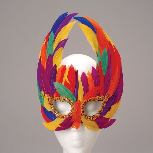 One Deluxe Feather Mardi Gras Style Mask