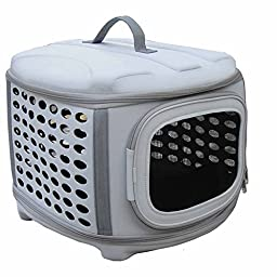 Circular Shelled Perforate Lightweight Collapsible Military Grade Transporter Pet Carrier, Light Grey, One Size