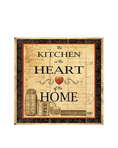 Kitchen Is The Heart Wood Wall Décor, Beige/Brown