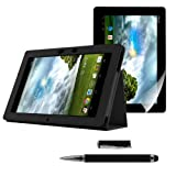 Kwmobile® 3in1 set: Elegant leather case for Asus MeMo Pad Smart ME 301 / ME301T in Black with convenient STAND FEATURE + Skin, crystal clear + Stylus, Black