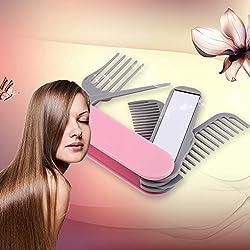 Evana 5 in1 Pocket Knife Shaped Foldable Hair Care Salon Travel Nonslip Grip Hairdresser Folding Plastic Hair Comb Mirror Set