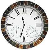 Metro Clocks 15 Inch Indoor/Outdoor Real Textured Ceramic Rock Tile Clock with Time, Temperature, and Humidity