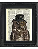 "Dictionary Art Print – Steampunk Owl ""Sir Oliver Owlfeather"" with Top Hat and Goggles and Skeleton Key – Printed on Recycled Vintage Dictionary Paper – 8″x11″ – Mixed Media Poster on Vintage Dictionary Page"