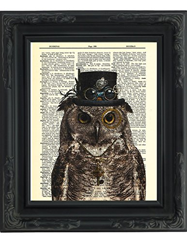 Dictionary-Art-Print-Steampunk-Owl-Sir-Oliver-Owlfeather-with-Top-Hat-and-Goggles-and-Skeleton-Key-Printed-on-Recycled-Vintage-Dictionary-Paper-8x11-Mixed-Media-Poster-on-Vintage-Dictionary-Page