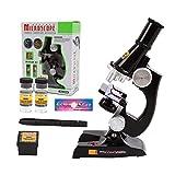 YBB 子供顕微鏡初心者顕微鏡で、LED付き、100X、200X、450Xの拡大倍数、5点付属品セットと箱を含みます