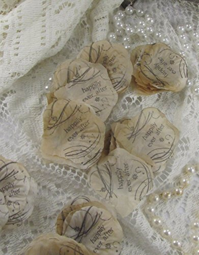 Aisle rose petals, Wedding Flower Petals ,Flower Girl Petals , Wedding Rose Petals, Petal Decorations, French Script Petal, flower petals Happily Ever After