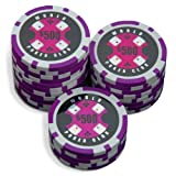 Sleeve of 25 World Poker Club $500 Purple Poker Chips Clay 14gby Bullets Poker