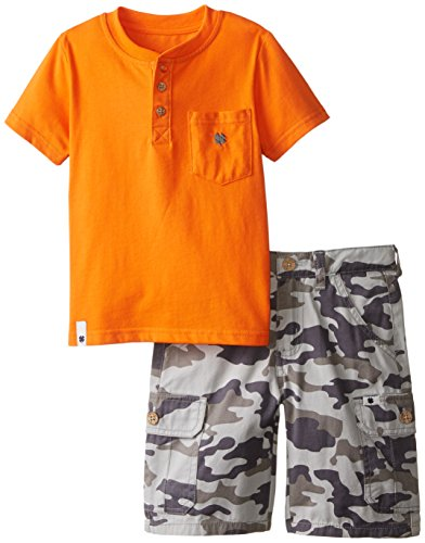 Lucky Brand Little Boys' Toddler 2 Piece Rider Set, Orange, 4T