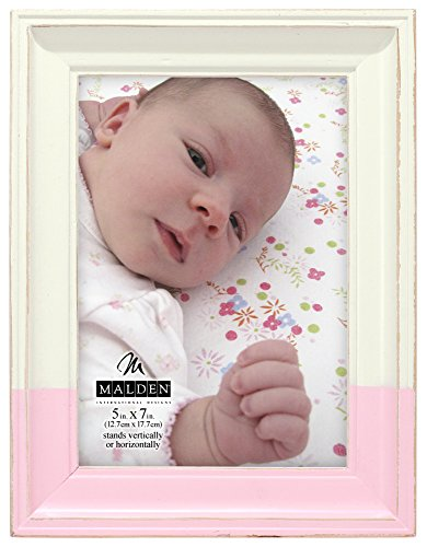 Malden International Designs Rustic Wood Fashion Off-White Picture Frame with Pink Dip to Hold 5 by 7-Inch Photo