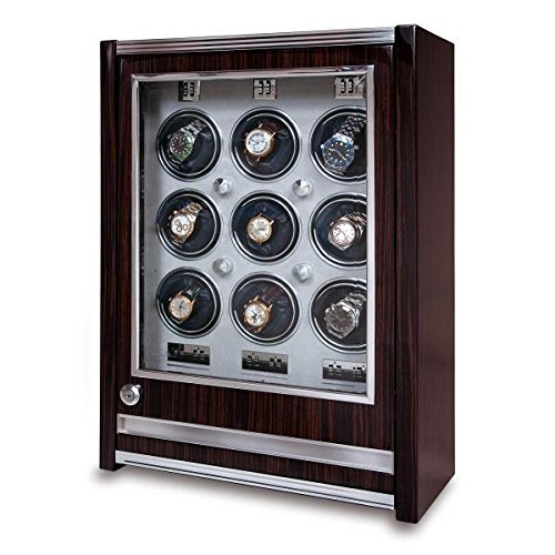 Allurez Rapport London Paramount Macassar Wood 9 Watch Winder w/ Glass Door
