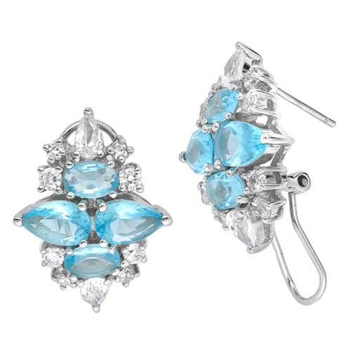 C.Z. (.925) STERLING SILVER BLUE TOPAZ MARQUISE RHODIUM PLATED EARRINGS (Nice Holiday Gift, Special Black Firday Sale)