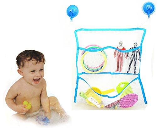 RISACCA お風呂 おもちゃ ネット 強力吸盤付き / 整理 大容量 収納 抗菌 清潔 (ブルー)