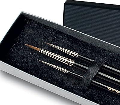 Da Vinci Maestro Kolinsky Series 10 Red Sable Round Paint Brush Set in Elegant Black Gift Box, 5/0/4/0