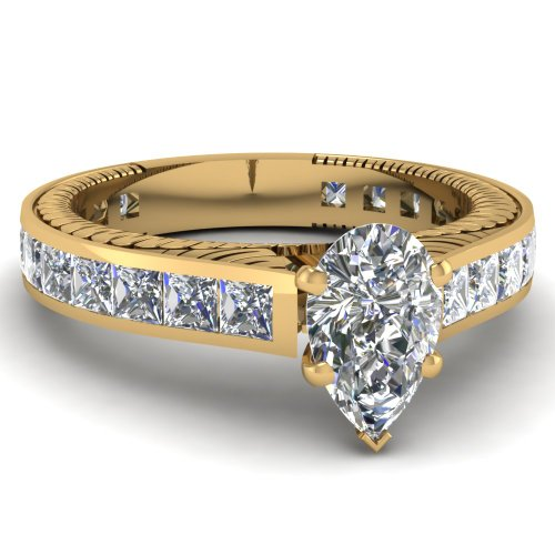 Fascinating Diamonds 2.55 Ct Pear Shaped & Princess Diamond Gold Engagement Ring Channel Set Si1 14K Gia