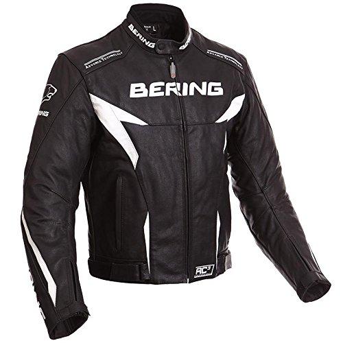 Bering - Blouson moto - Bering FIZIO CUIR Noir/Blanc