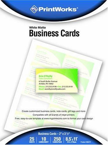 printworks matte white business cards 250 count 00472. Black Bedroom Furniture Sets. Home Design Ideas
