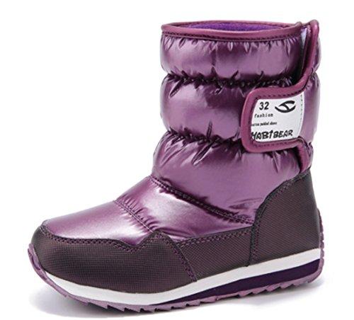 652e89035feb VECJUNIA Girls Winter Waterproof Antiskid Cold Weather Fuzzy Plush Snow  Boots (Toddler Little Kid Big Kid)