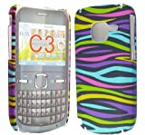 FOR NOKIA C3-00 STYLISH DARK MULTI COLOUR ZEBRA PRINT HARD BACK PROTECTION CASE COVER