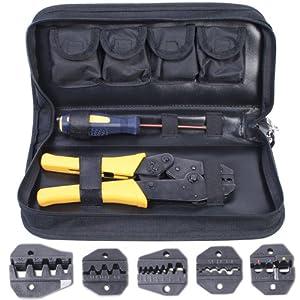 Jago CMZE02 - Crimpatrice con 5 inserti intercambiabili + cacciavite e borsa