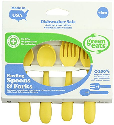 Green Eats 4 Pack Feeding Spoons and Forks , Yellow
