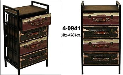 DonRegaloWeb - Cajonera de madera y metal de 4 cajones con accesorios de polipiel con formas de maletas