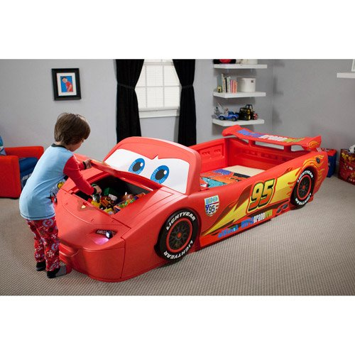 Lightning Mcqueen Convertible Toddler To Twin Bed With Lights And Toy Box front-874383