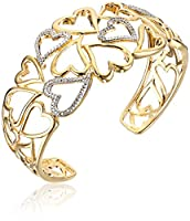 Sterling Silver Diamond Accent Hearts Cuff Bracelet by Amazon Collection